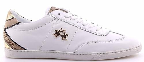 La Martina Scarpe Donna Sneakers L3120118 Baltimora Bianco Gold Made Italy  New 5b145ca8ff1