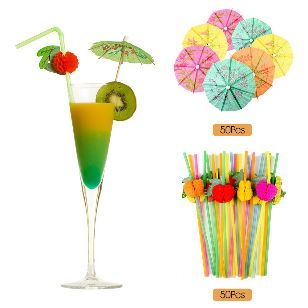 FEPITO 184 PCS Tropical Hawaiian Party Decorations Includes Tropical Palm Leaves, Hibiscus Flowers, Drink Umbrella Picks, Colorful Fruit Straws and Cupcake Toppers for Luau Party Decorations Supplies by FEPITO (Image #3)