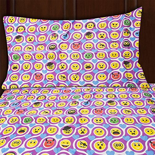 Sutton Home Fashions (3 Piece) Emoji Bed Sheet Set Twin Size Microfiber Bedding Flat Fitted Pillowcase (Sets Cheap Kids Comforter)