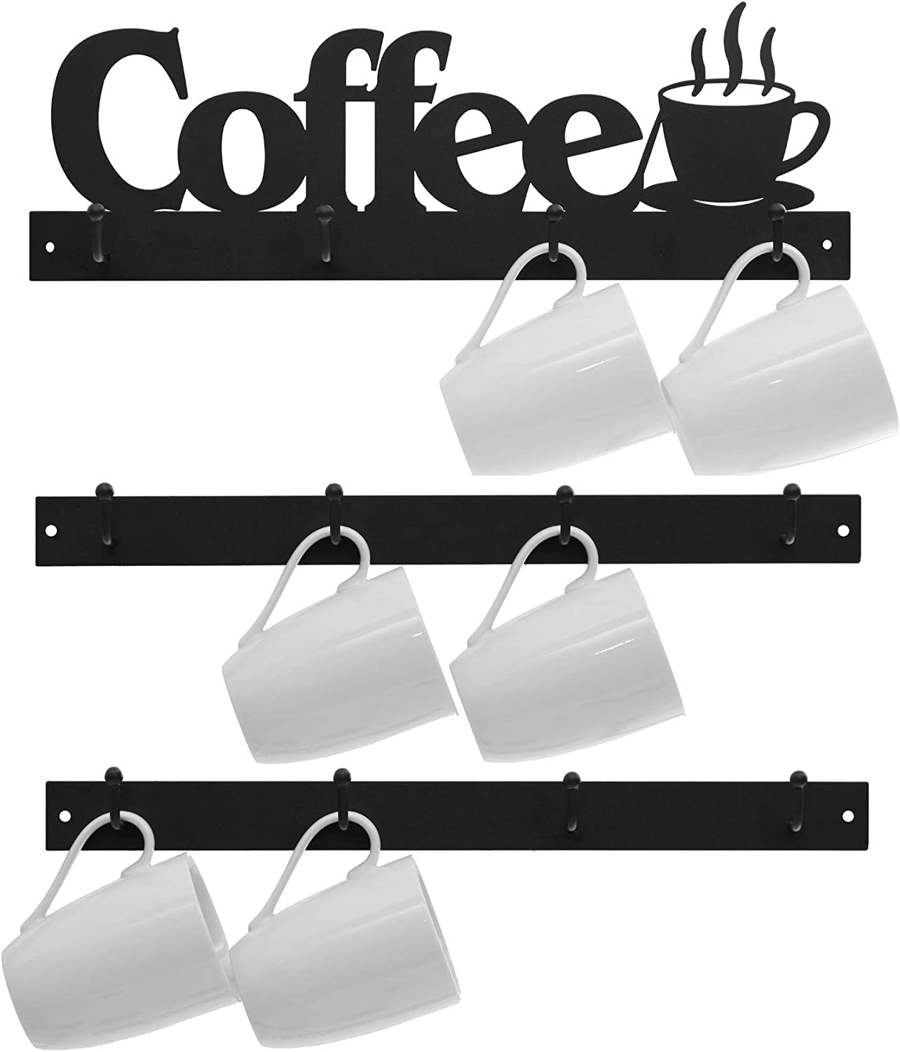Lixgifts Coffee Mug Rack Wall Mounted with 12 Hooks, Coffee Cup Holder for Wall Organizer Display, Tea Cup Hanger with Black Metal Coffee Sign for Coffee Bar, Kitchen, Coffee Corner Station Decor