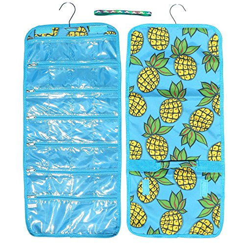 Best Pineapple Designer Large Hanging Jewelry Packing Travel Accessory Makeup Craft Bead Organizer Hanger Roll Set Unique Fun Top Stocking Stuffer Gift Idea for Her Women Teen Girl Mother in Law Wife