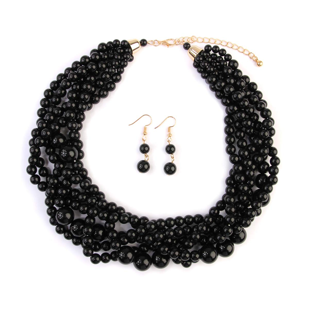 MYS Collection Women's Braided Beaded Bubble Statement Necklace - Multi Strand Colorful Bead Layered Collar Necklace (Black)