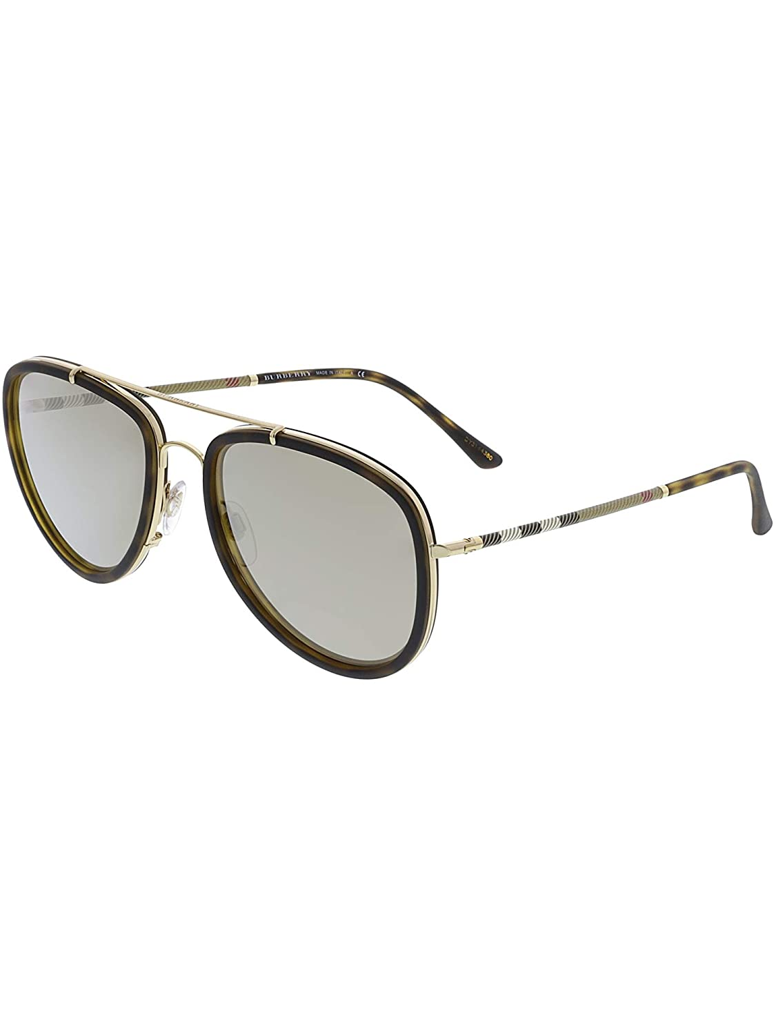bc8f1c9cff81 Amazon.com: Burberry Unisex 0BE3090Q Brushed Gold/Dark Havana/Light  Brown/Mirror Gold One Size: Burberry: Clothing