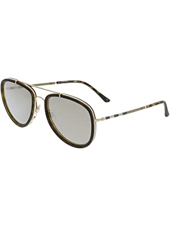 eebbae48f19 Burberry Unisex 0BE3090Q Brushed Gold Dark Havana Light Brown Mirror Gold  One Size