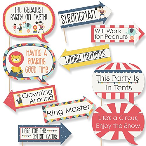 Funny Carnival - Cirque du Soiree - Baby Shower or Birthday Party Photo Booth Props Kit - 10 Piece]()