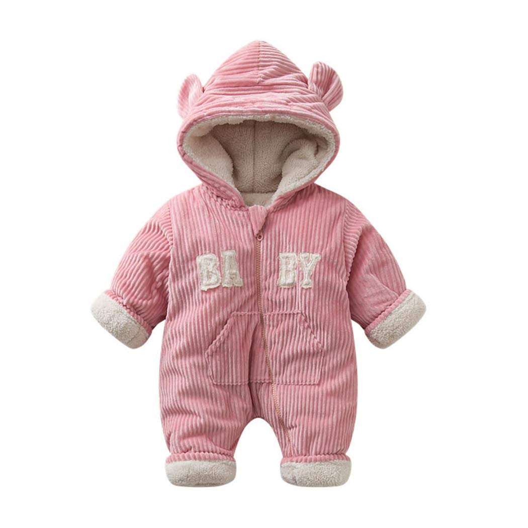 xzbailisha Winter Fleece Baby Boys Girls Romper Cute Bear 3D Ear Hoodie Jumpsuit Pocket