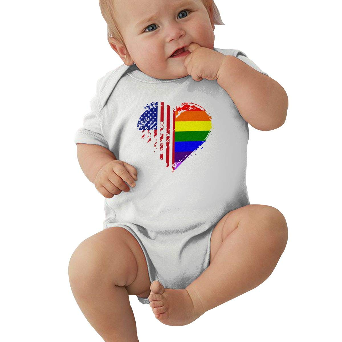 Mri-le2 Newborn Baby Short Sleeve Jumpsuit Grungy LGBT American Flag Heart Toddler Jumpsuit
