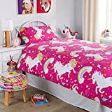SELECT-ED Luxuries kids Xmas children's unicorn cover pink bedding quilt single double free delivery (Unicorn Pink, Single)