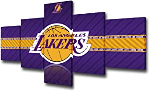 Los Angeles Lakers Logo Pictures American Basketball League Paintings 5 Pcs Canvas Wall Art NBA Modern Artwok Home Decor for Living Room Giclee Wooden Framed Gallery-Wrapped Ready to Hang -50''Wx24''H