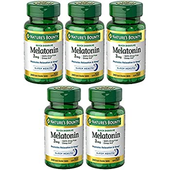 Melatonin 3 mg, 5 Bottles (240 Count)