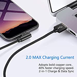 3 Pack 6FT Super Fast 2.4A Current Nylon Braided Cable 90 Degree Charging Cord Compatible with iPhone X/8/7/6 Plus & iPad and More (Black, 6FT) (Color: Black, Tamaño: 6FT)