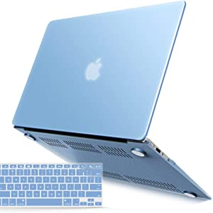 IBENZER Old Version (2010-2017 Release) MacBook Air 13 Inch Case (Models: A1466 / A1369), Plastic Hard Shell Case with Keyboard Cover for Apple Mac Air 13, Airy Blue, A13ARBL+1A