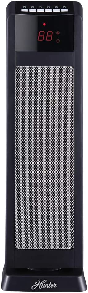 "Hunter HPQ15C-EA 1500W Digital Ceramic Tower Heater with Remote Control, 24"", Black"