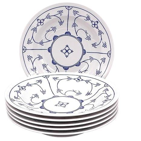 Kahla Saks 16 g112 a75019h blauweiß Platos hondos Juego de Porcelana 6 Piezas 6 Persona Decoración