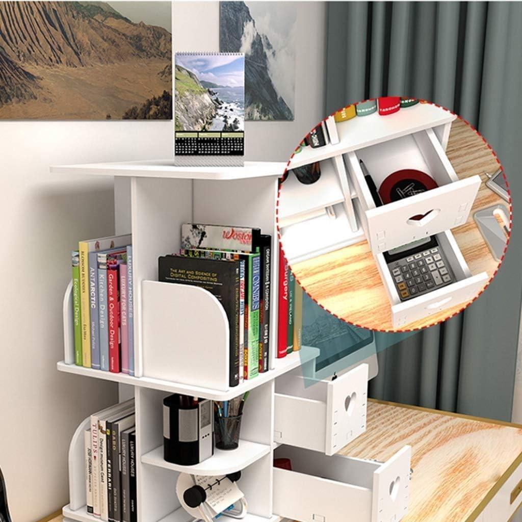 Rack Organizer a 360 /° Libreria Girevole Media Tower Libreria da Appoio Regolabile MJL Scaffale da Tavolo Scaffale da Tavolo Autoportante in Legno Scaffale da Scrivania Libreria Girevole
