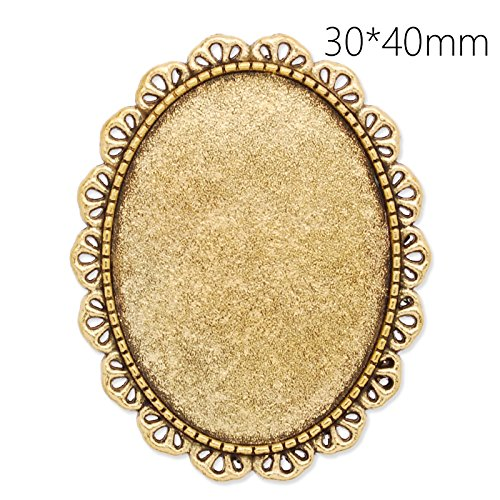 30x40mm Oval Blank Bezel Antique Gold Plated Lace Brooch Findings with Safety Pin Fastening-10pcs
