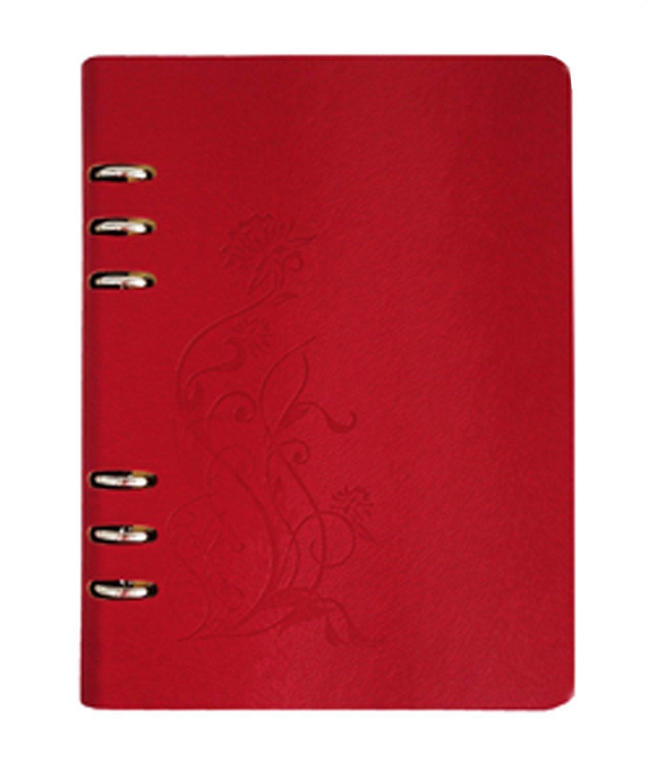 ヴィンテージエンボス花詰め替え可能ノートブックジャーナル日記、ハードカバー、Wide Ruled – 9 x 6.9インチ、180ページ  レッド B06WD59F6L