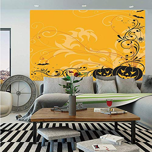 SoSung Halloween Decorations Huge Photo Wall Mural,Carved Pumpkins with Floral Patterns Bats and Webs Horror Artwork,Self-Adhesive Large Wallpaper for Home Decor 108x152 inches,Orange Black (The Best Carved Pumpkin In The World)