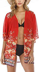 Win A Free Basic Faith Women's S 3XL Floral Print Kimono Tops Cover…