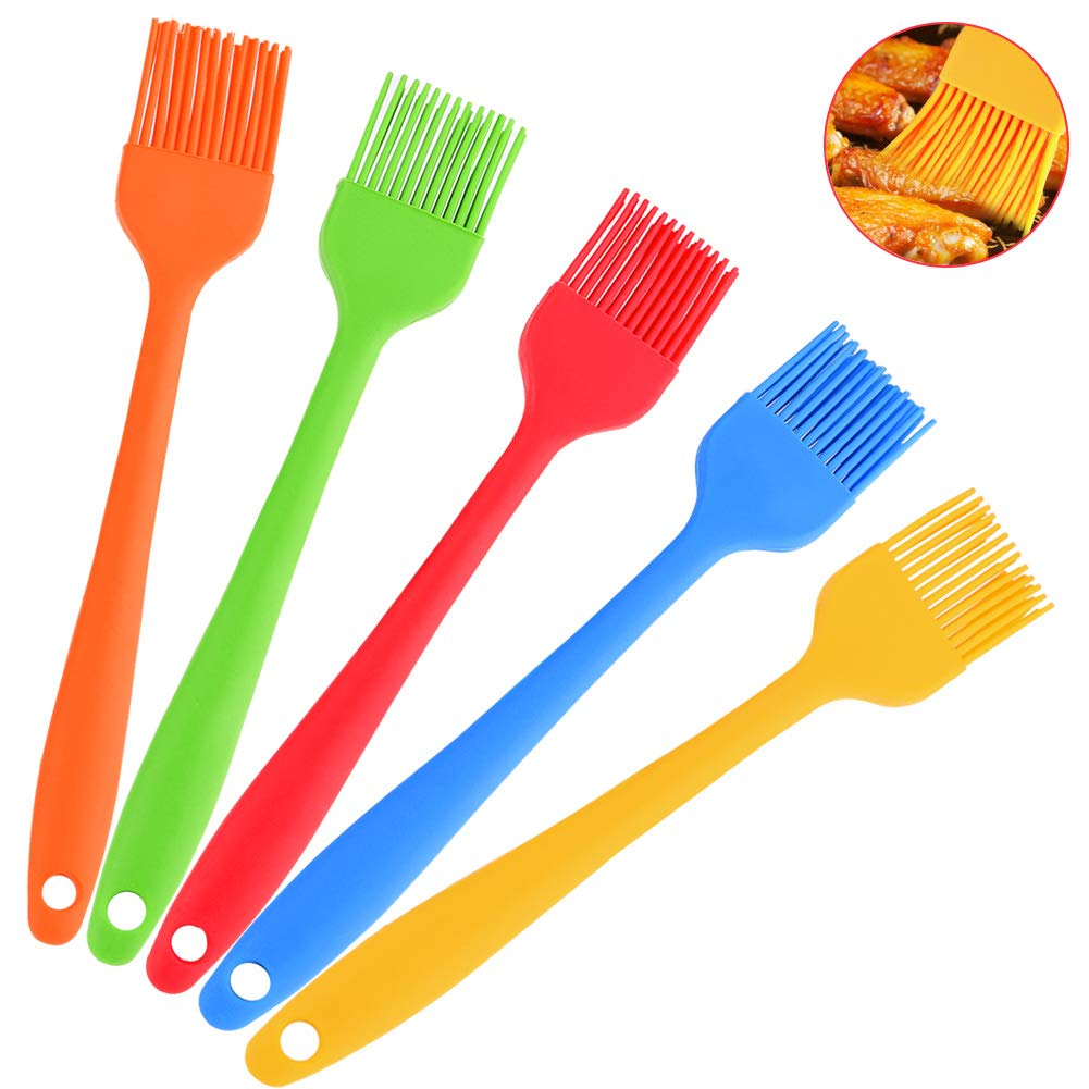 Huyenkute 5Pcs Silicone Basting Pastry Brush Oil Brushes for Cake Bread Butter Baking Tools Kitchen Safety BBQ Brush Multi Color 20.8x3cm
