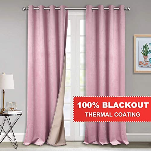 StangH Daughters Room Curtains Shades – Luxury Velvet Curtains with 100 Blackout Thermal Coating, Insulating Drapes for Avoiding Sun Exposure, Pink, W52 x L96-inch, 2 Panels