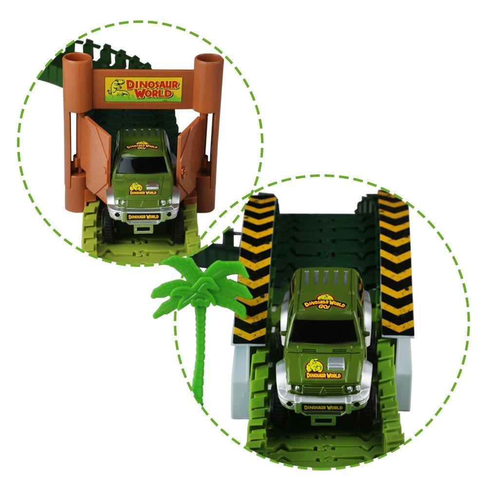 Lydaz Race Track Dinosaur World Bridge Create A Road 142 Piece Toy Car  Flexible Track Playset Toy