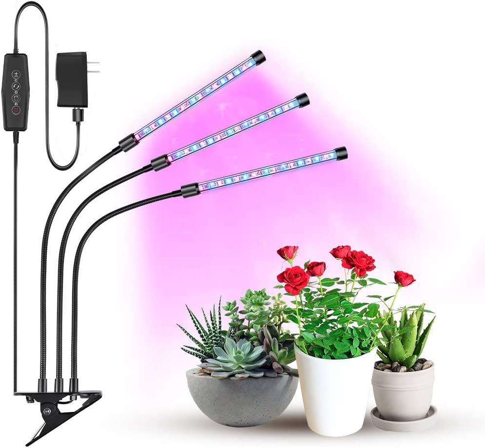 Grow Light, Growing Lamps for Indoor Plants, Moer Sky 2019 Upgraded Version 27W 54 LED Bulbs Timing Plant Lights with Full Spectrum, 3 6 12H Intelligent Timer, Adjustable Gooseneck, 5 Dimmable Levels