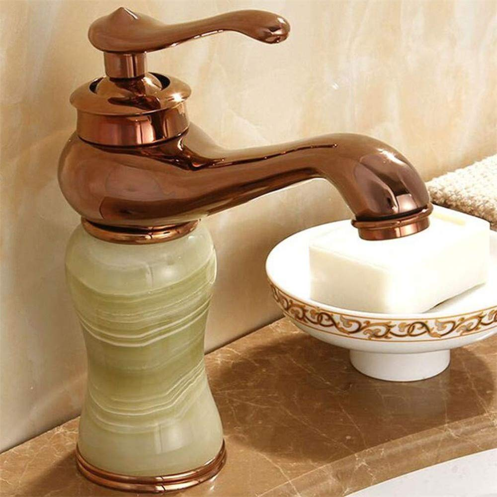 Water Tap Basin Faucet Hot and Cold Bathroom Washroom Jade Antique gold Copper Marble Hotel C