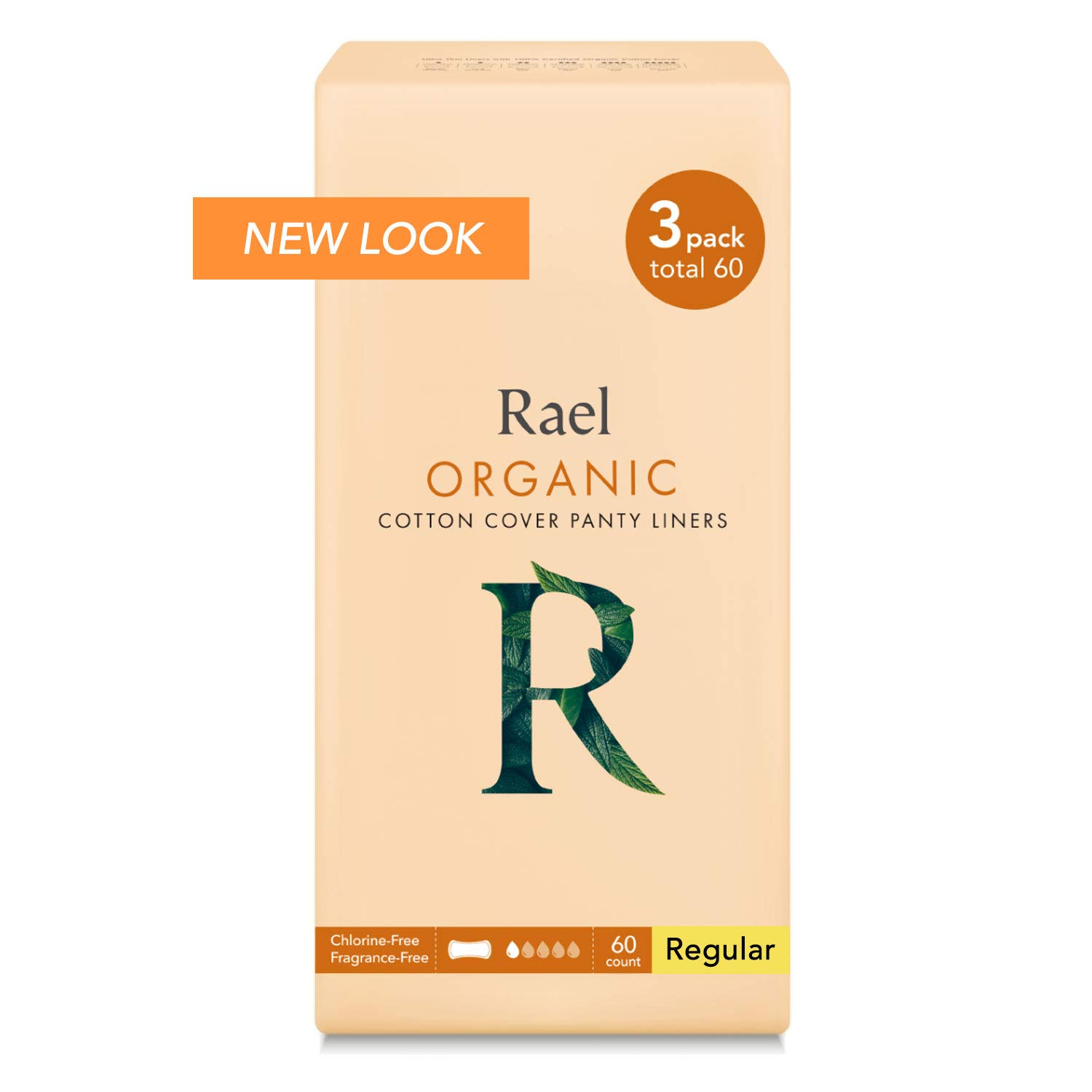 Rael Certified Organic CottonPanty Liners, Regular - 3Pack/60 total - Unscented Pantiliners - Natural Daily Pantyliners (3 Pack) by Rael