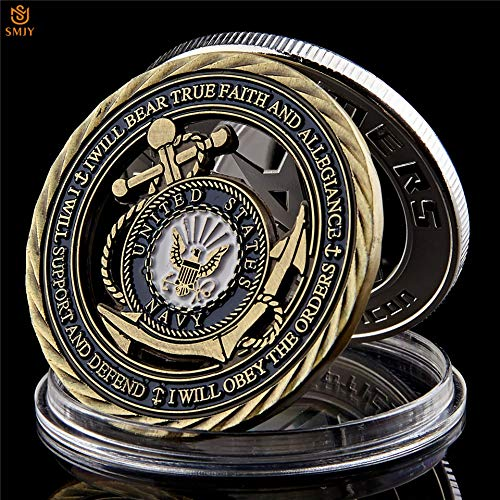 (Momoso_store US Navy Emblem Core Value Bronze Hollow Military Challenge Medal Commitment Coin, repilica Toys)