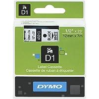 DYMO D1 Label Cassette Tape 12mm x 7M - Black on White