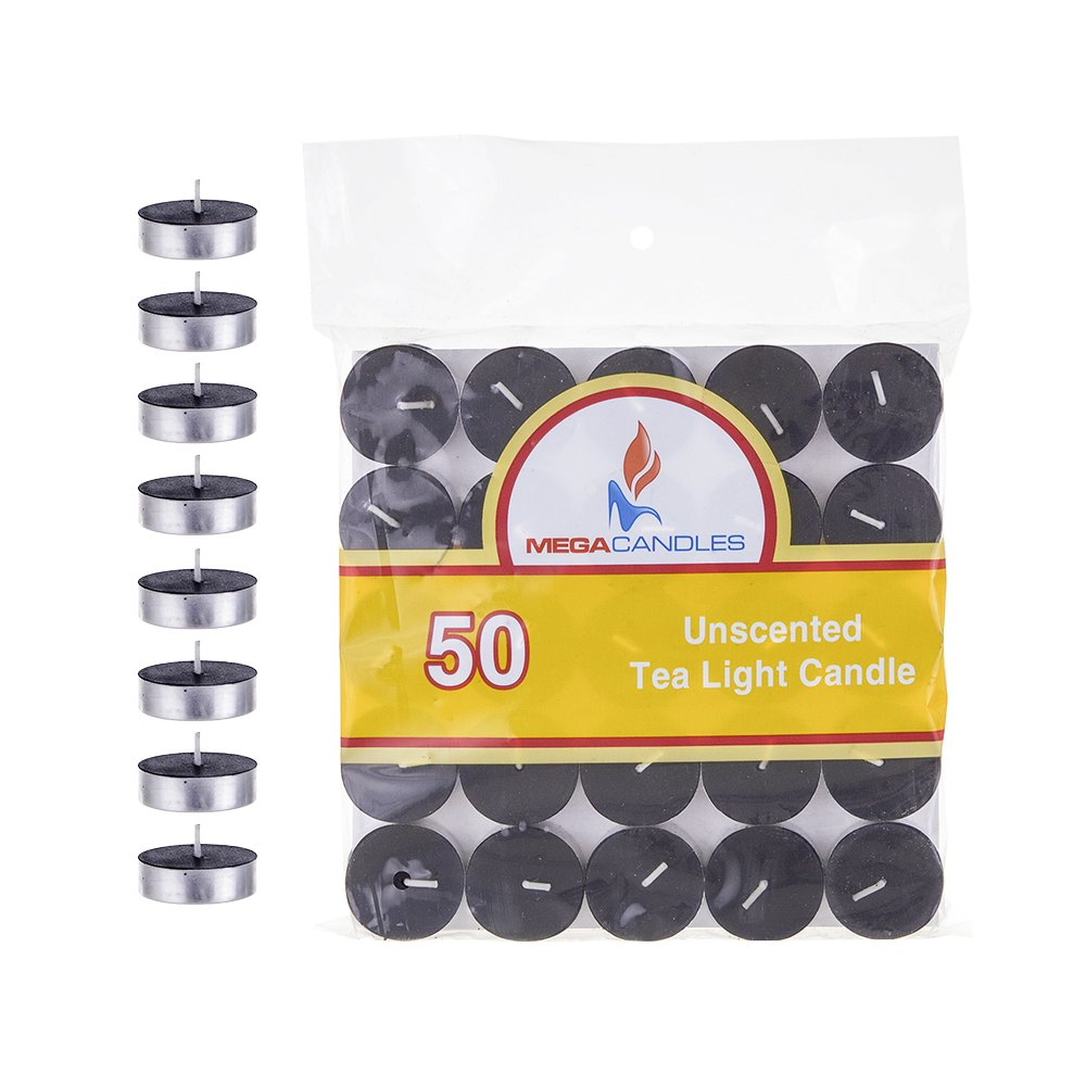 Mega Candles 50 pcs Unscented Black Tea Lights Candle | Pressed Wax Candles 3.5 Hour Burn Time | for Home Décor, Wedding Receptions, Baby Showers, Birthdays, Celebrations, Party Favors & More CGA082-BK