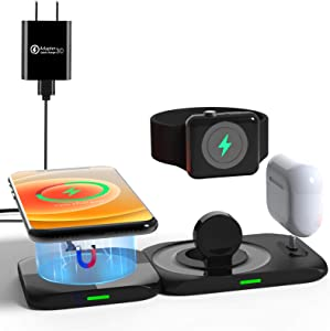Aimtel Wireless Charger,4 in 1 Magnetic Charging Station for Apple Products Mag safe Charger Stand for iPhone 12/Pro/Pro Max/Mini/11 X XS XR,Apple Watch Airpods Pro/Airpod Multiple Device Charging Pad
