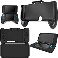 Grip para New Nintendo 2DS XL con Funda de Silicona, AFUNTA Mando de Plástico con Carcasa Protectora Antideslizante para Consola 2DS LL - Negro