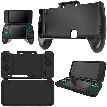 Hand Grip para New Nintendo 2DS XL con Funda de Silicona, AFUNTA Mango de Plástico con Funda Protectora Antideslizante para Consola 2DS LL - Negro
