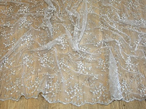 Delicate Beaded Scalloped Edge Couture Bridal Lace Fabric Silver - per metre