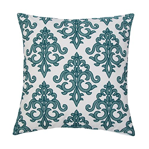 SLOW COW Cotton Embroidery Throw Pillow Covers, Super Soft Invisible Zipper Euro Decorative Cushion Covers for Sofa Bedroom, Teal, 18x18 Inches.