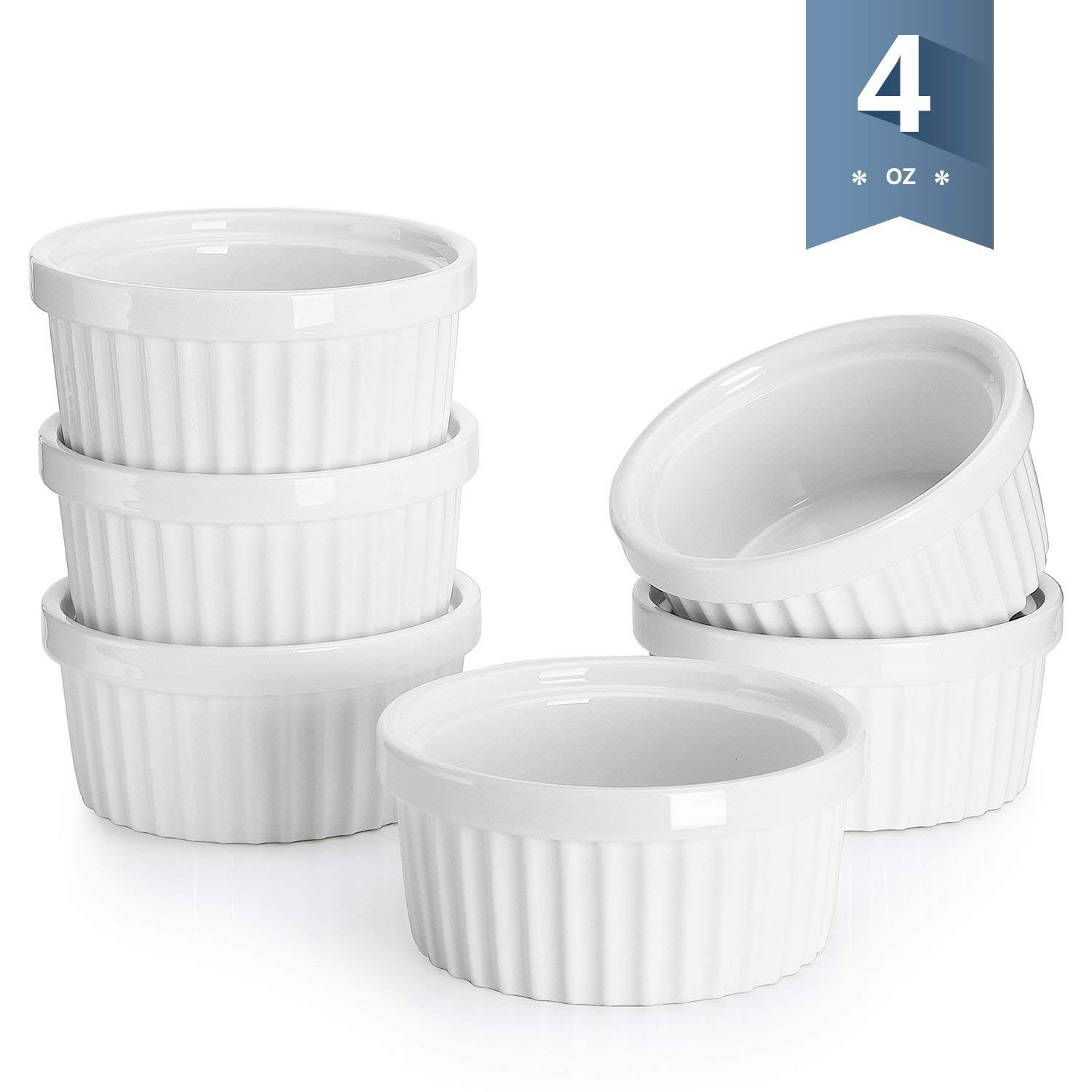 Sweese 5107 Porcelain Souffle Dishes, Ramekins - 4 Ounce for Souffle, Creme Brulee and Dipping Sauces - Set of 6, White