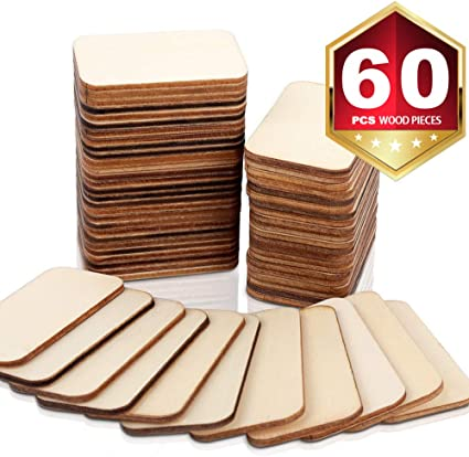 """Embellish Light Unfinished Wood is Easy to Paint 3mm Thick 50pc Darice Unfinished Rectangle-Shaped Wood Pieces Stain Perfect for Art and Craft Projects Each Piece Measures 2.08/""""x1.37/"""""""