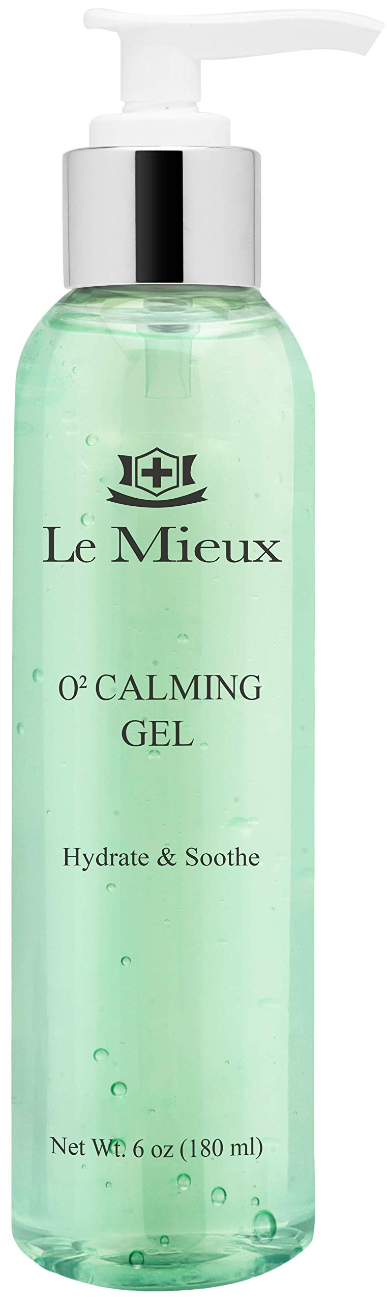 Le Mieux O2 Calming Gel - Conductive Facial Gel with Aloe - Soothe Mild Visible Irritation & Redness - Hydrating Hyaluronic Acid Gel for Microcurrent Devices - No Parabens or Sulfates (6 oz / 180 ml)
