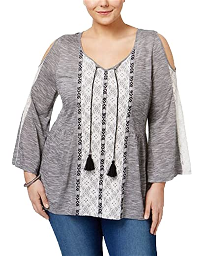 ef62daeeca55b6 Style   Co. Plus Size Cold-Shoulder Peasant Top (1X) at Amazon ...