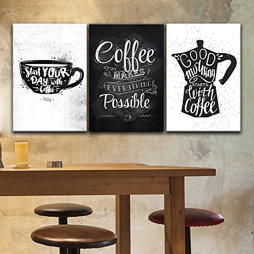 3 Panel Hand Drawn Coffee Art in Black and White x 3 Panels
