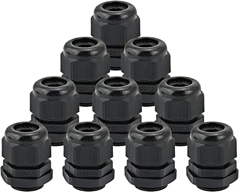 Grey M20 20mm Waterproof IP68 Nylon Cable Stuffing Gland Pack of 10 UK Stock