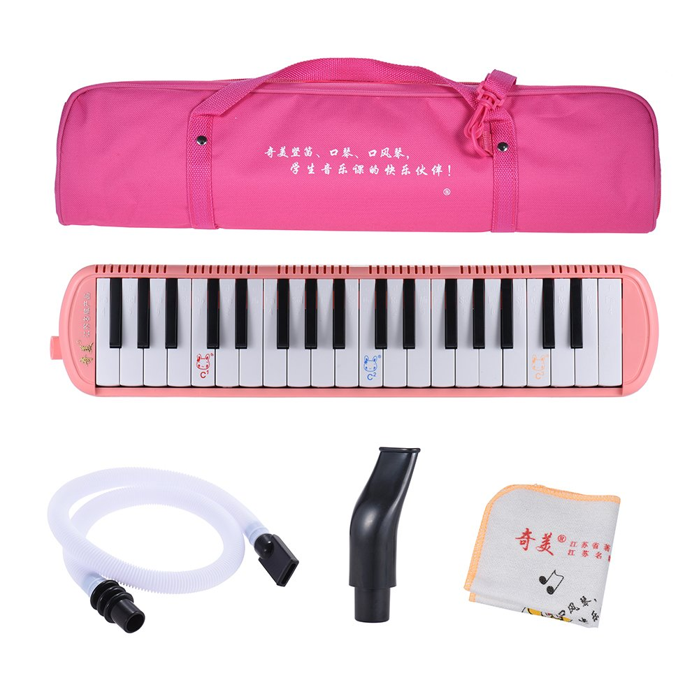 Festnight Melodica Instrument, 37 Keys Musical Educational Melodica Pianica with Carrying Bag for Beginner Kids Children Gift, Pink