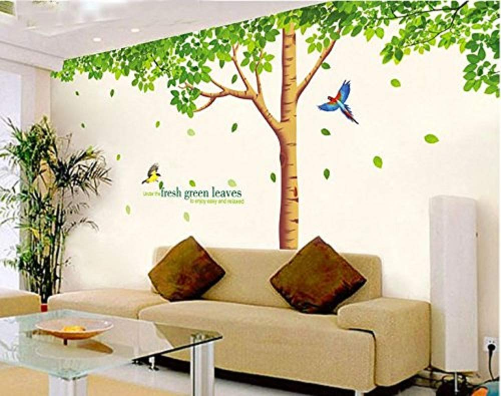 GoldenCart Wall Decorations for Living Room I Wall Decor for Living Room I Green Trees with Cartoon Birds and Quotation I Wall Decorations for Bedroom I Tree Wall Decal Stickers (Vinyl,310 X 204cm)