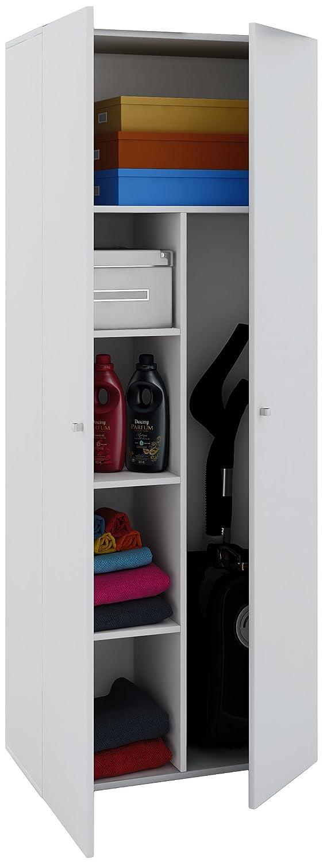 VCM Staubsauger Besenschrank Mehrzweckschrank Putzschrank Vandol   Auswahlmöglichkeiten    +Schublade +Aufsatz Höhe 178 cm  Weiß c8706f