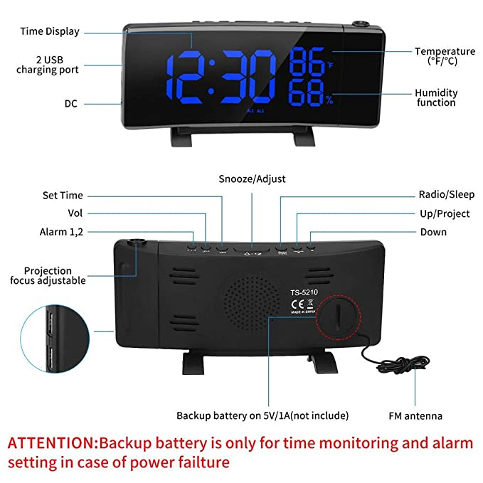 Digital Clock for Bedrooms Projection Clock,3 Color Time//Temperature//Humidity LED Projection Alarm Clock with Full Digital Screen and FM Radio