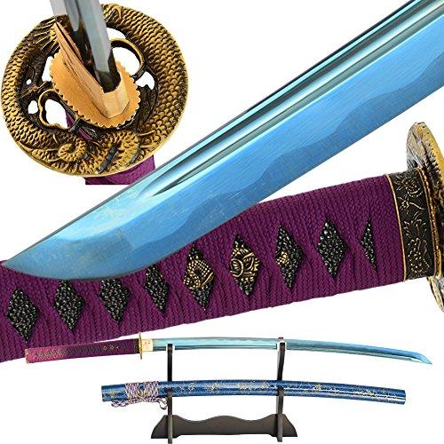 Japanese Real Sharp Samurai Sword Full Tang Blue Blade Handmade Katana