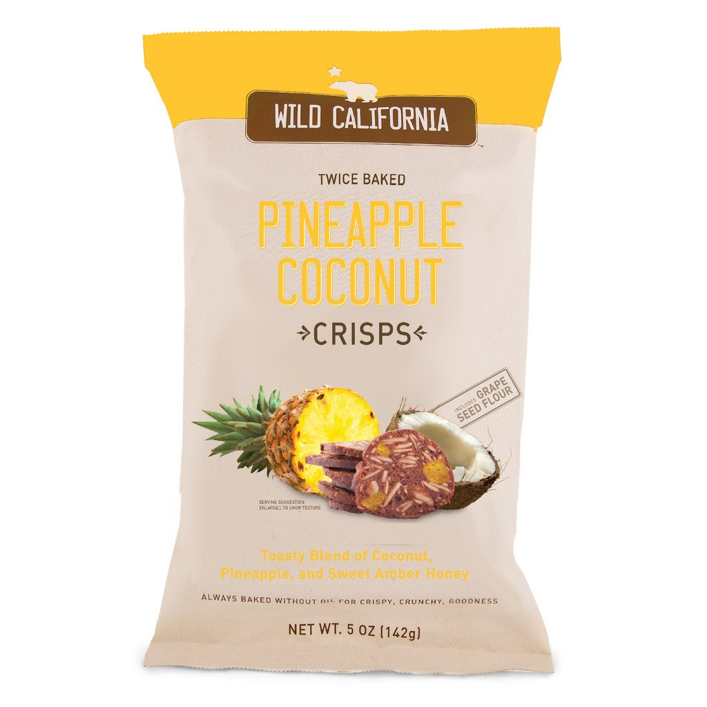 Twice Baked Crisps by Wild California Crisps, Pineapple Coconut Crisps - Twice Baked Without Oils and Made From Grape Seed Flour (5 Ounce Bags, Pack of 8)