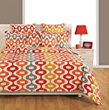 Swayam Eco Sparkle 140 TC Cotton Single Bedsheet with Pillow Cover - Orange
